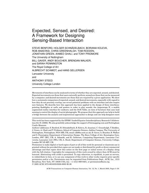 Expected, Sensed, and Desired: A Framework for Designing ...
