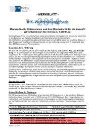 Merkblatt für den IHK-Weiterbildungsfonds 2014