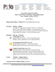 er R e P-1 Study PSJA arly hool 9 a.m. Tuesday, October 18, 2011 ...