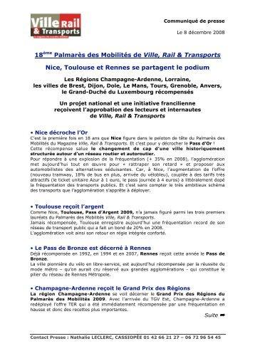 18ème Palmarès des Mobilités de Ville, Rail & Transports ... - Gart
