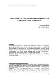 POLÍTICAS PÚBLICAS E QUILOMBOLAS: QUESTÕES PARA ...