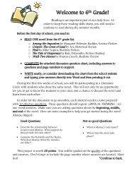 Welcome to 6th Grade! - Perkiomen Valley School District - Website