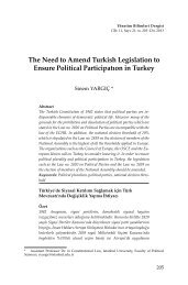 The Need to Amend Turkish Legislation to Ensure Political ...