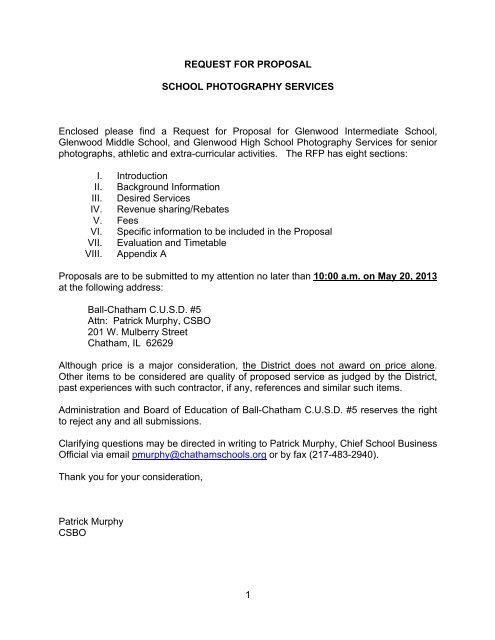 1 REQUEST FOR PROPOSAL SCHOOL PHOTOGRAPHY ...