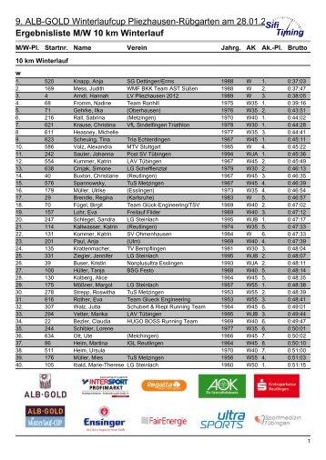 Ergebnisliste M/W 10 km Winterlauf - LV Pliezhausen