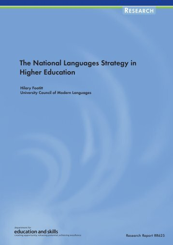 The National Languages Strategy in Higher Education Hilary Footitt ...