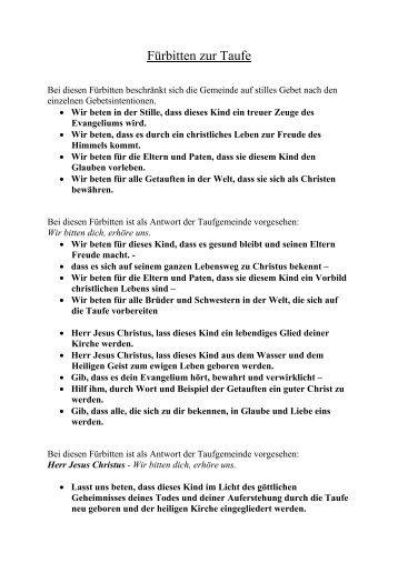 frbitten zur taufe pfarre dornbach - Furbitten Taufe Beispiele