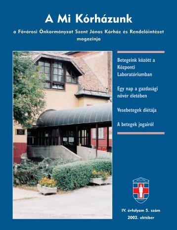 A Mi Kórházunk: 2002. október ( IV/5) - Szent János Kórház