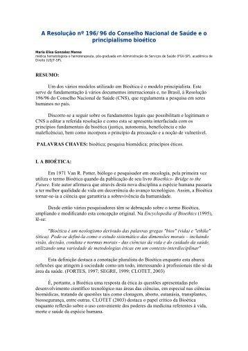 A Resolução nº 196/96 do Conselho Nacional de Saúde e o ... - Idisa