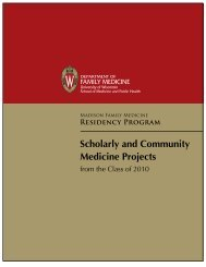 Scholarly and Community Medicine Projects - UW Family Medicine ...