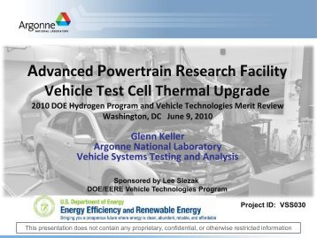 Advanced Powertrain Research Facility Vehicle Test Cell ... - EERE