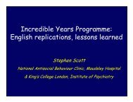 Incredible Years Programme: English replications, lessons learned