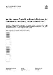 Modelle für individuelle Förderung - Kanton Zürich