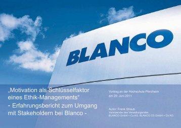 EGO Blanc und Fischer Gruppe - Hochschule Pforzheim