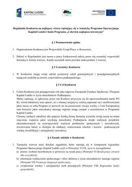 Regulamin Konkursu Na Najlepszy Wiersz Wpisujäcy Siä W