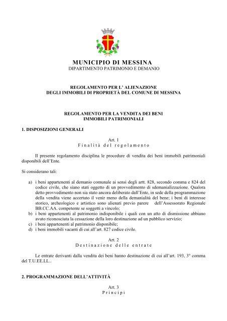 Regolamento alienazione immobili di proprietà del Comune di ...