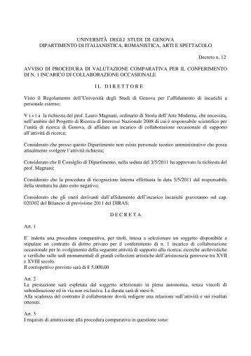 (UNIVERSIT\300 DEGLI STUDI DI GENOVA) - Diras - Università ...