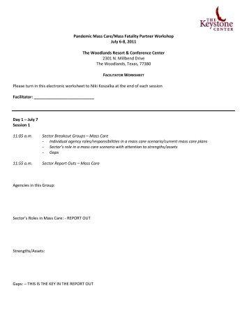Facilitator Worksheet