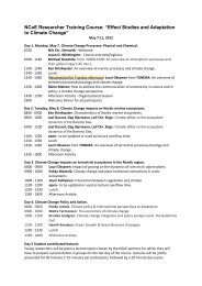 Lecture Plan - Nordic Centre for Research on Marine Ecosystems ...