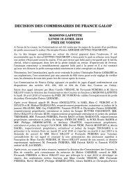 MAISONS LAFFITTE - PRIX DE VOISINS - 19 AVRIL ... - France Galop