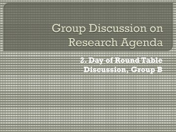 2. Day of Round Table Discussion, Group B