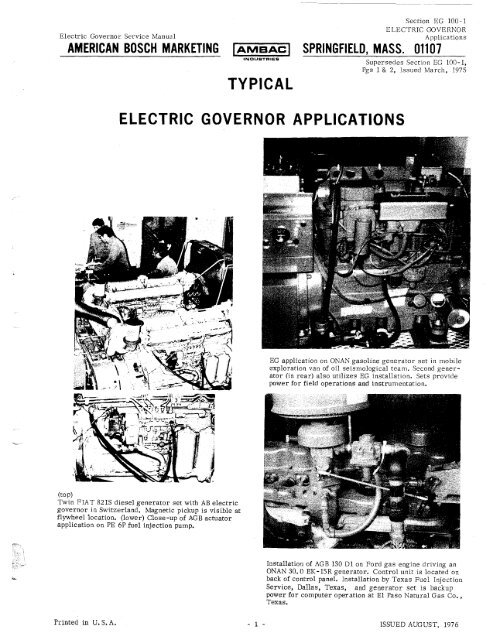 typical electric governor applications - AMBAC International