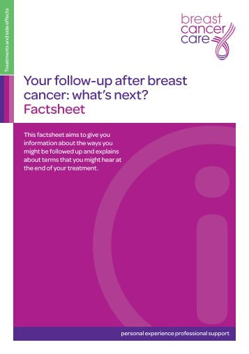 Your follow-up after breast cancer: what's next? Factsheet
