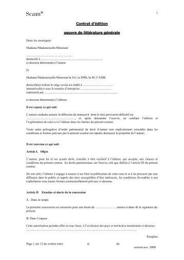 Contrat d'édition oeuvre de littérature générale - Sacd