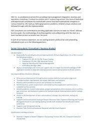 Senior Consultant / Consultant / Business Analyst - SIT