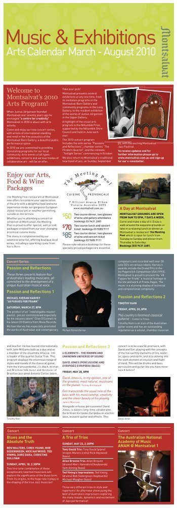 Arts Calendar March - August 2010 - Montsalvat