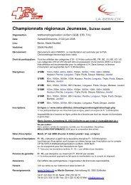 Championnats régionaux Jeunesse, Suisse ouest - LA-Bern