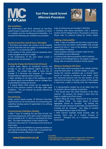 Easi-Flow Liquid Screed Aftercare Procedure - FP McCann Ltd