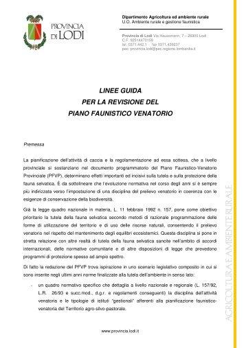 Linee Guida Revisione PVF - Provincia di Lodi