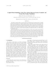 Coupled Model Simulations of the West African Monsoon ... - IMAGe