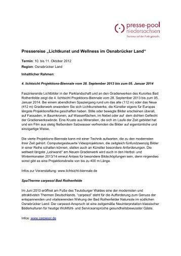 Lichtkunst und Wellness im Osnabrücker Land - Presse-pool ...