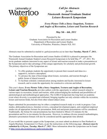 Nineteenth Annual Graduate Student Leisure Research Symposium