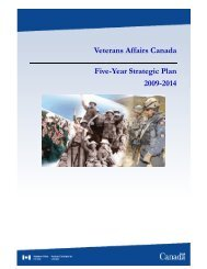 Veterans Affairs Canada Five-Year Strategic Plan 2009-2014