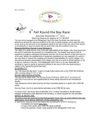 9 Fall Round the Bay Race - Mattapoisett Yacht Club