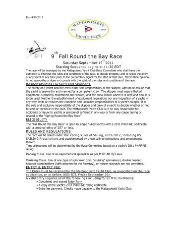 9 Fall Round the Bay Race - Mattapoisett Yacht Club