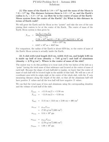 PY1052 Problem Set 6 – Autumn 2004 Solutions