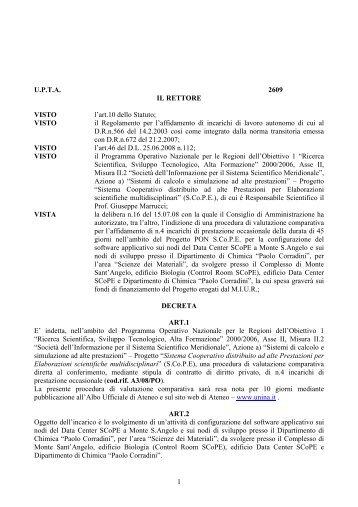 1 U.P.T.A. 2609 IL RETTORE VISTO l'art.10 dello Statuto ... - Scope