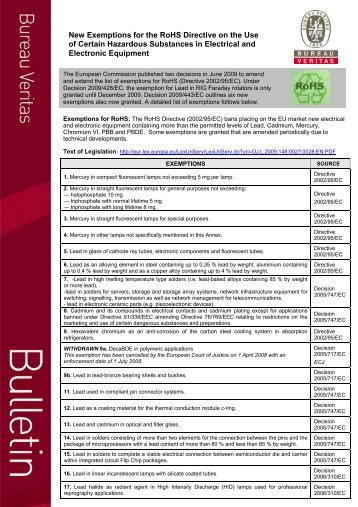New Exemptions for the RoHS Directive on the Use ... - Bureau Veritas