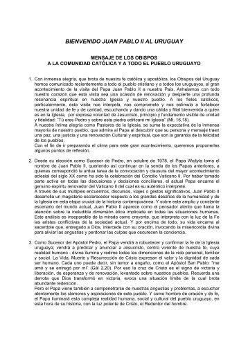 bienvenido juan pablo ii al uruguay - Iglesia Católica Conferencia ...