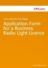 Application Form for a Business Radio Light Licence