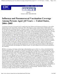 Influenza and Pneumococcal Vaccination ... - The INCLEN Trust
