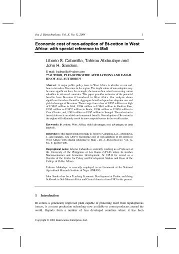 Economic cost of non-adoption of Bt-cotton in West Africa: with ...