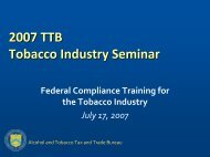 TTB Regulatory Requirements for Tobacco Marks, Labels, and Notices