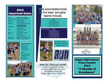Past accomplishments by the boys' and girls' teams include: 2013 ...