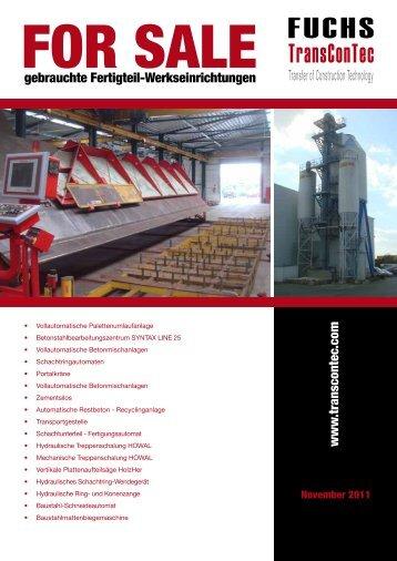 gebrauchte Fertigteil-Werkseinrichtungen www .transcontec.com
