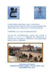 programa en pdf - Sociedad de Pediatría de Andalucía Occidental y ...